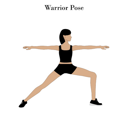 Yoga warrior pose on the white background. Vector illustration