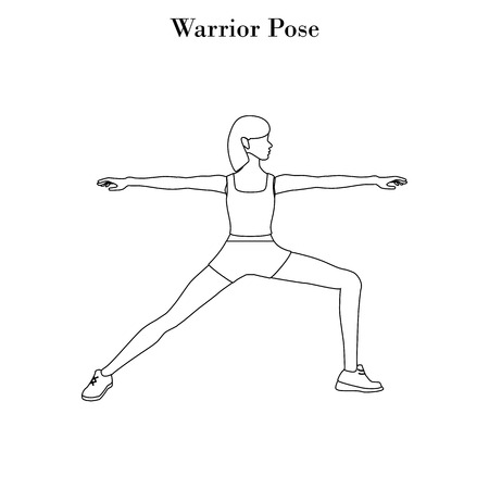 Yoga warrior pose outline on the white background. Vector illustration