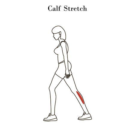 Calf stretch exercise outline on the white background. Vector illustration Ilustrace