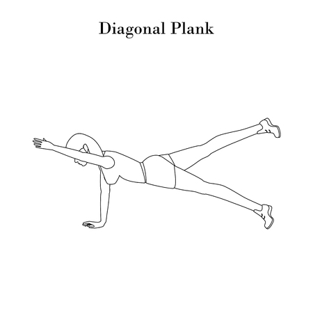 Diagonal Plank exercise outline on the white background. Vector illustration Ilustrace