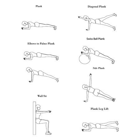Plank workout illustration outline on the white background. Vector illustration