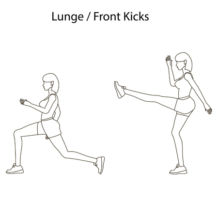 Lunge front kicks exercise outline on the white background. Vector illustration