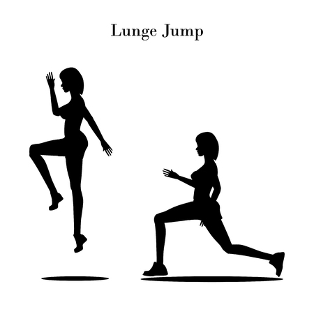 Lunge jump exercise silhouette on the white background. Vector illustration