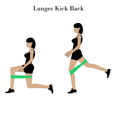 Lunges kick back illustration on the white background. Vector illustration Illustration