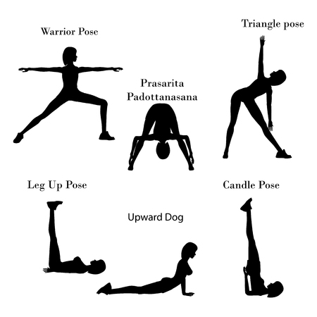 Yoga exercises workout silhouette on the white background. Vector illustration