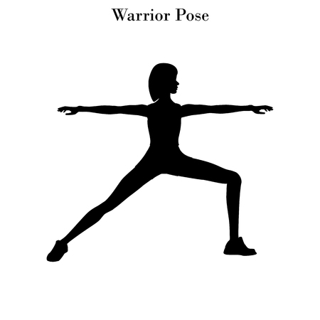 Yoga warrior pose silhouette on the white background. Vector illustration