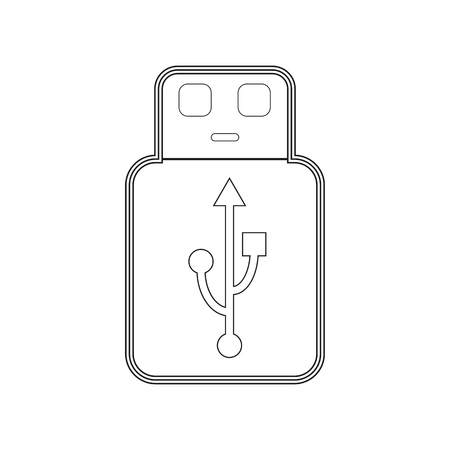 USB memory outline on the white background. Vector illustration