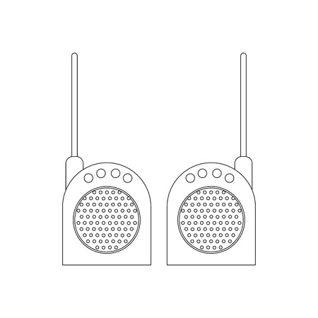 Walkie-talkie outline on the white background. Vector illustration