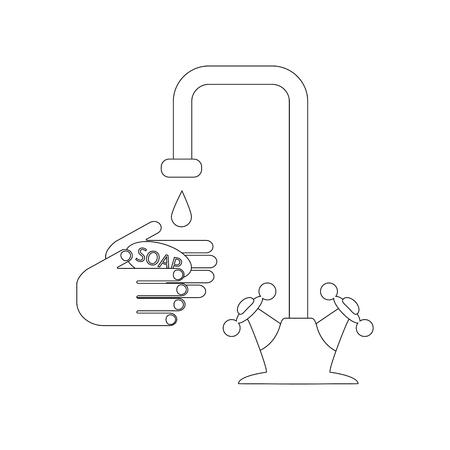 Water tap and hands with soap illustration outline on the white background. Vector illustration Ilustração