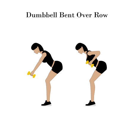 Dumbbell bent over row exercise on the white background. Vector illustration