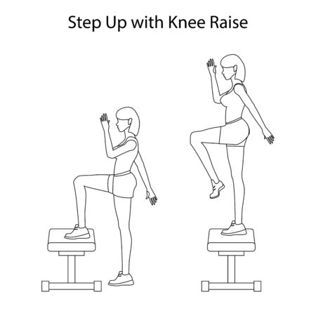 Step up with knee raise exercise outline