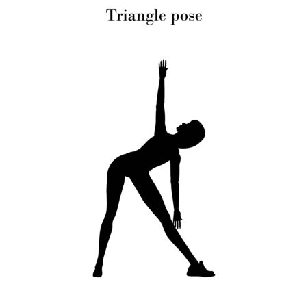Triangle pose exercise silhouette