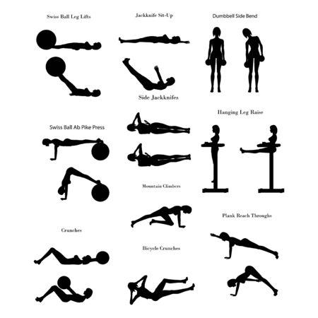Ćwiczenia treningowe ilustracja sylwetka Ilustracje wektorowe