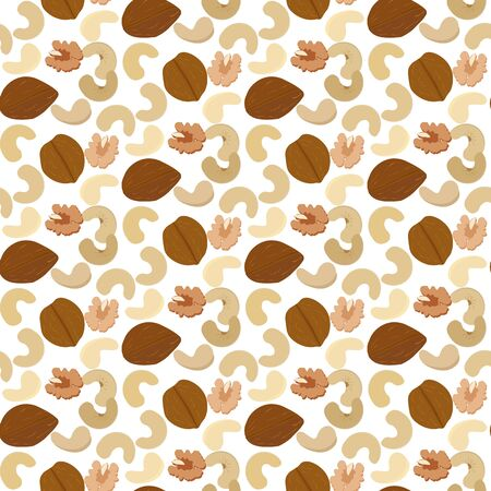 Cashew nuts and walnut seamless pattern on the white background. Vector illustration