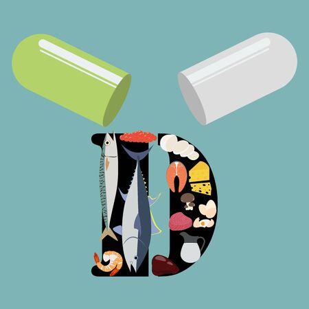 Vitamin D illustration Stock Illustratie
