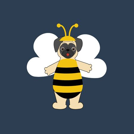 Pug in bee costume halloween on the blue background. Vector illustration Ilustrace