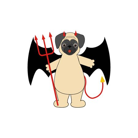 Pug in devil costume halloween on the white background. Vector illustration