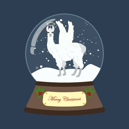 Llama in christmas costume in snowball on the blue background. Vector illustration