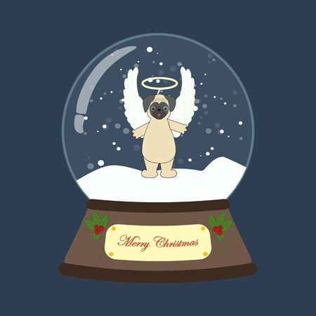 Pug in angel costume in snowball