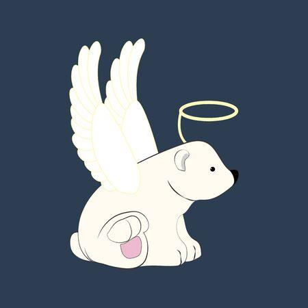 Bear in angel costume illustration