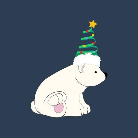 Bear in christmas costume illustration
