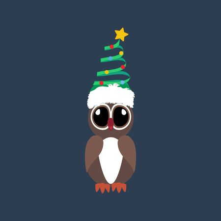 Owl in christmas costume illustration