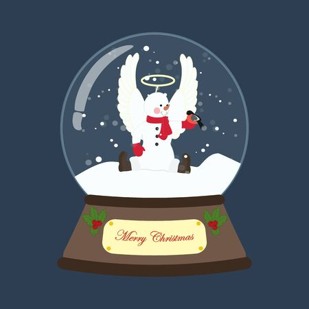 Snowman in christmas costume in snowball Stock Illustratie