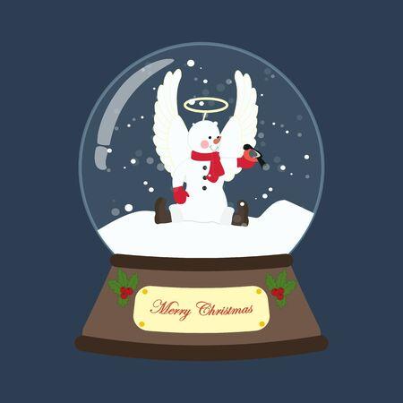 Snowman in christmas costume in snowball Reklamní fotografie - 131400110