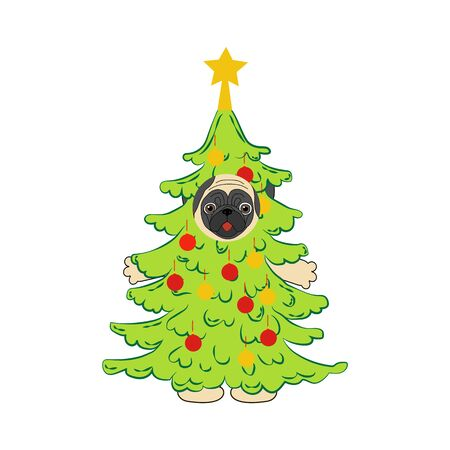 Pug in christmas tree costume illustration on the white background. Vector illustration