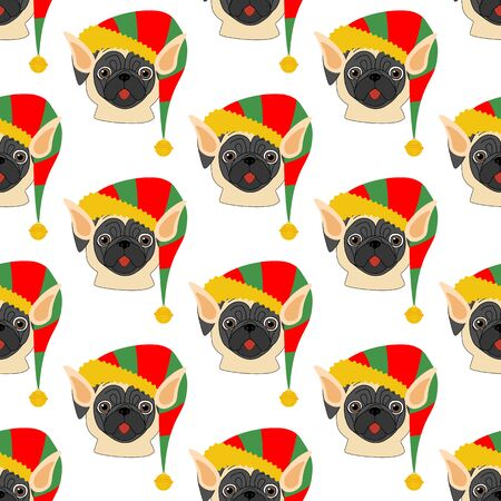 Pug in Elf costume seamless pattern on the white background. Vector illustration