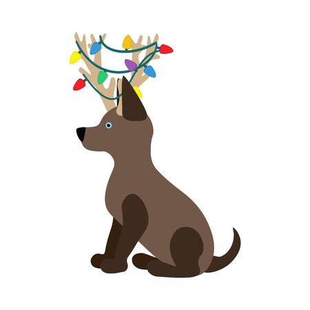 Dog in christmas costume illustration