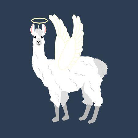 Llama in angel costume illustration