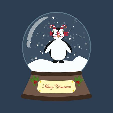 Penguin in christmas costume in snowball on the blue background. Vector illustration