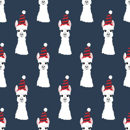 Llama in Christmas hat seamless pattern on the blue background. Vector illustration