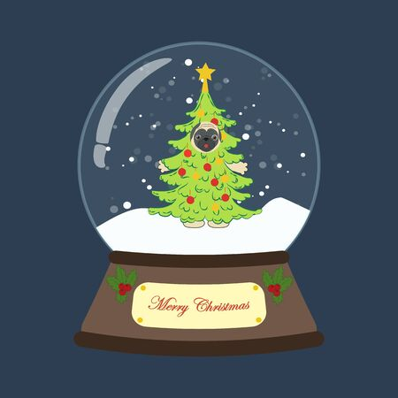 Pug in christmas tree costume in snowball on the blue background. Vector illustration