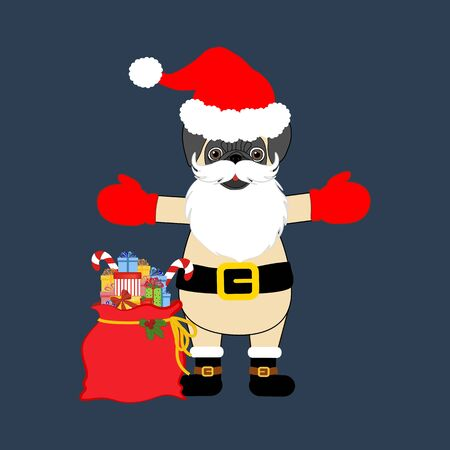 Pug in Santa Claus costume on the blue background. Vector illustration