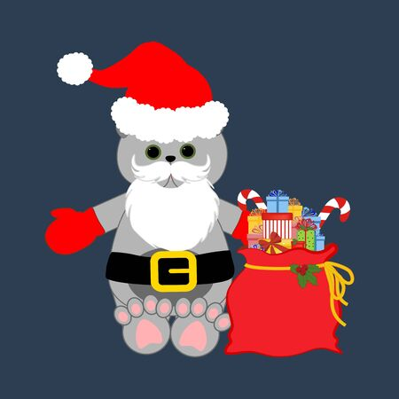 Cat in christmas costume illustration on the blue background. Vector illustration Reklamní fotografie - 131401024