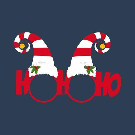 Christmas glasses illustration on the blue background. Vector illustration