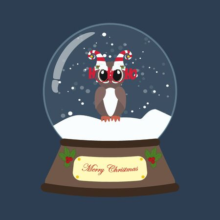 Owl in christmas costume in snowball on the blue background. Vector illustration Stock Illustratie