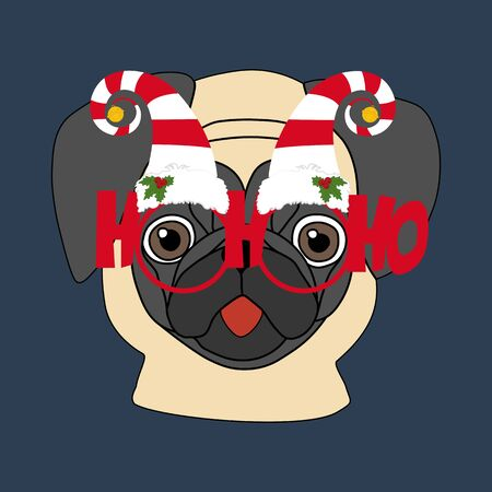 Pug in christmas glasses illustration on the blue background. Vector illustration