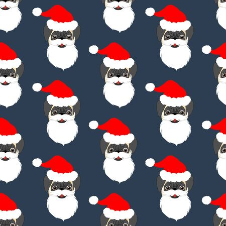 Pug in Santa Claus costume seamless pattern on the blue background. Vector illustration Stock Illustratie
