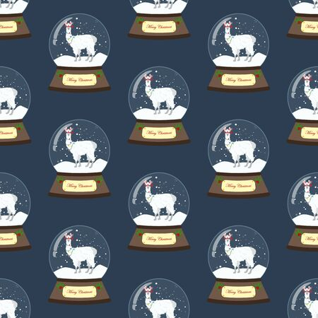 Llama in christmas costume in snowball seamless pattern on the blue background. Vector illustration