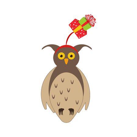 Owl in christmas costume illustration on the white background. Vector illustration