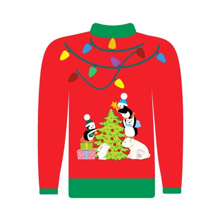 Christmas ugly sweater illustration on the white background. Vector illustration