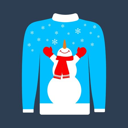 Christmas ugly sweater illustration on the blue background. Vector illustration