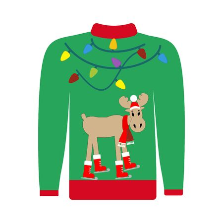 Hässliche Pullover Weihnachtsillustration auf dem weißen Hintergrund. Vektor-Illustration