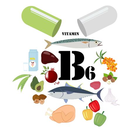 Vitamin B6 illustration Иллюстрация