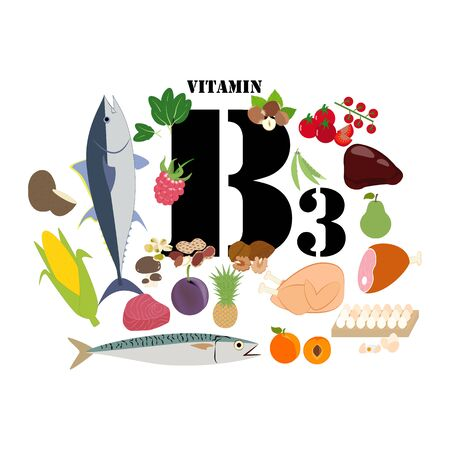 Vitamin B3 illustration on the white background. Vector illustration