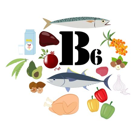 Vitamin B6 illustration on the white background. Vector illustration