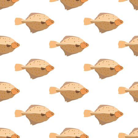 Flounder fish seamless pattern on the white background. Vector illustration Illustration